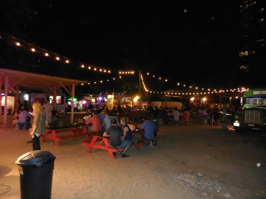 Pic of the Austin food truck park taken while traveling through Rainey Street Austin