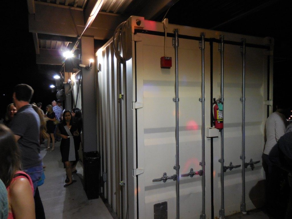 pic of shipping containers on Rainey Street Austin taken while traveling through Austin, Texas