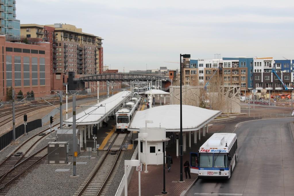 Picture of a metro stop taken while traveling through Denver, Colorado