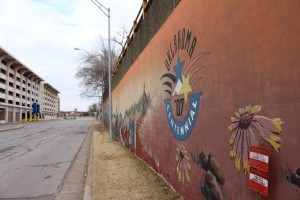 Picture of a wall mural taken while traveling through OKC