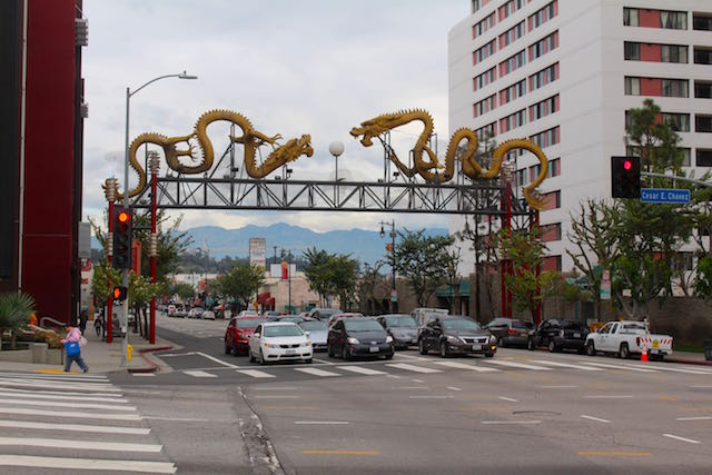The gate with 2 Dragons marks the entrance to Chinatown Los Angeles