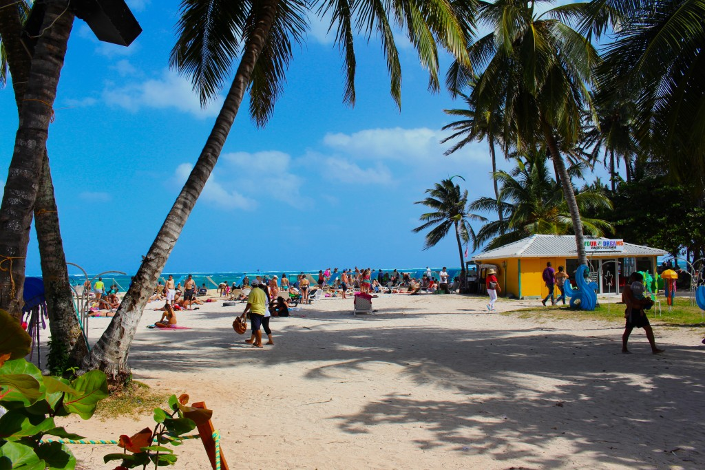 People on the main beach front in San Andres Colombia