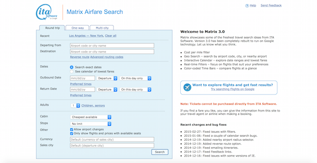 The matrix its software is a tool for the savvy traveler that is an aggregate of all the flight prices online