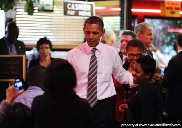 President Obama at Roscoe's Chicken and Waffles.