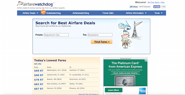 Airfarewatchdog.com gives you the best deals using human search