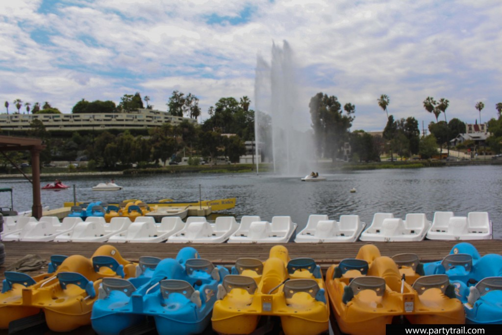 Renting a paddle boat in Echo Park Los Angeles is a great way to enjoy a visit to the neighborhood.