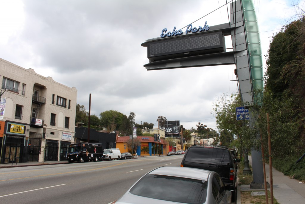 A prominent sign of Echo Park displayed in Los Angeles