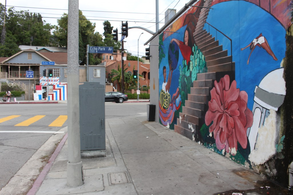 Street art in Echo Park adds to the hipster anti-establishment vibe of the neighborhood.