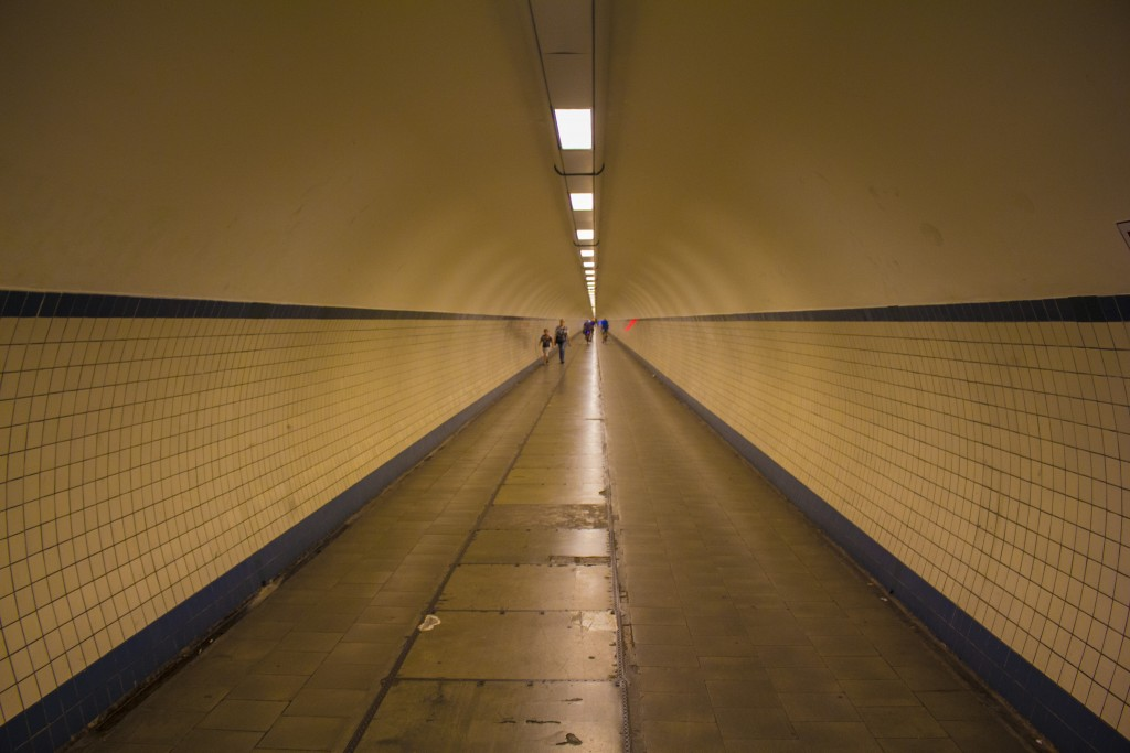 An Underground Tunnel That Runs Through The City In Antwerp.