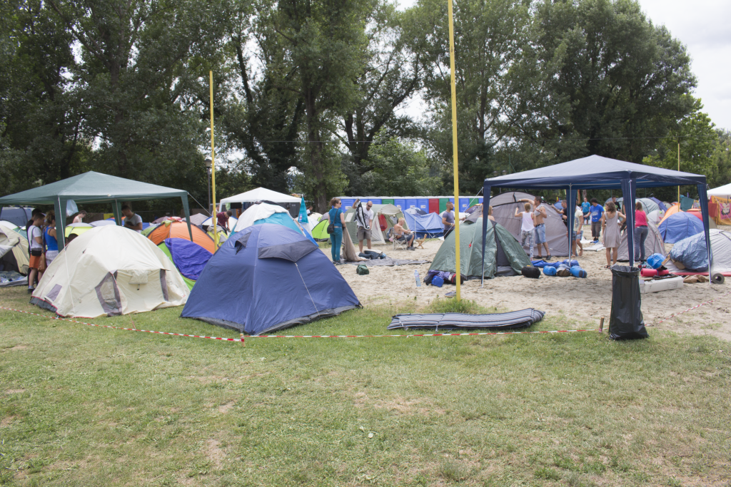 People Attending The Exit Festival Setting Up The Campsite