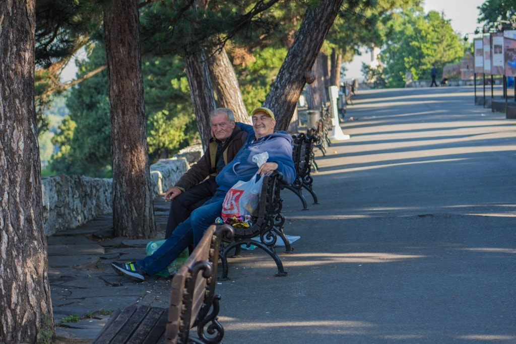 Some Old Timers On A Bench In Belgrade, Serbia.