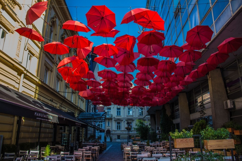 Umbrellas Decorating A Restaurant Near The City Center