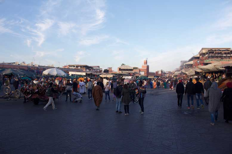 Jamaa el Fna is a square and market place in Marrakesh's medina quarter