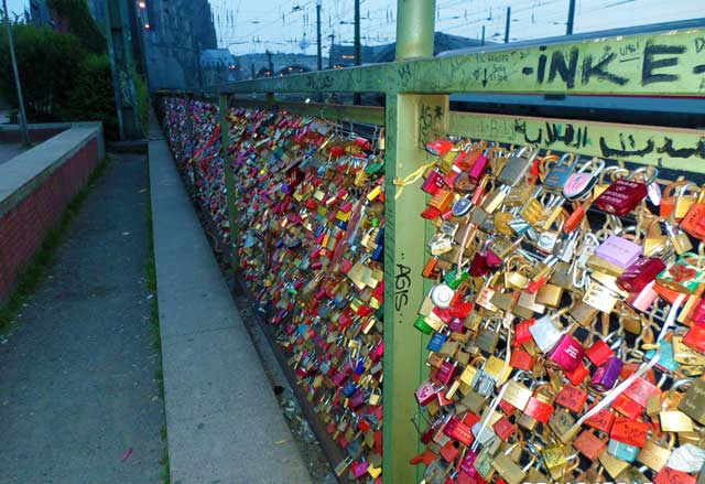 Couples lock away their hearts forever on this bridge in Cologne.