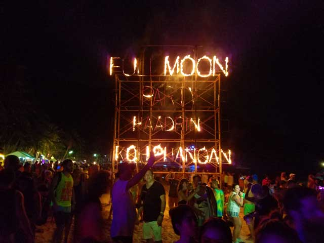 The Fullmoon Party is held on Haad Rin Beach In Koh Pha Ngan Thailand