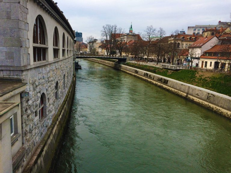 The Ljubljana River In Ljubljana Slovenia