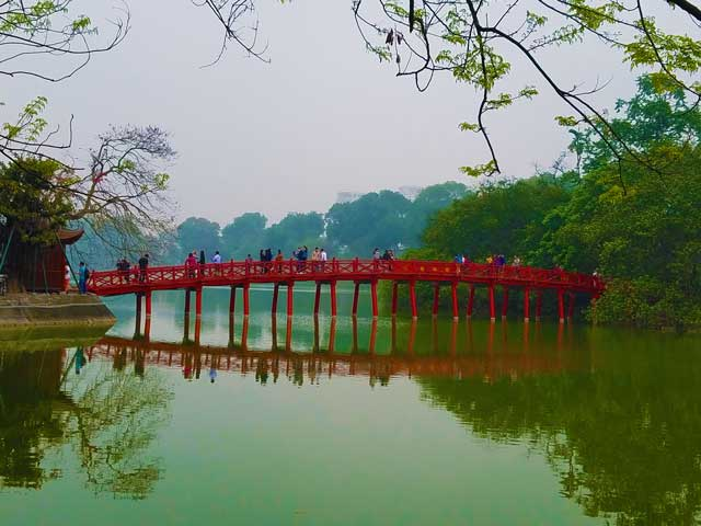 The Ho An Kiem Lake in Hanoi Vietnam